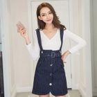 Set: Knit Top + Striped Jumper Skirt 1596