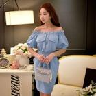 Short-Sleeve Off-Shoulder Buttoned Dress 1596