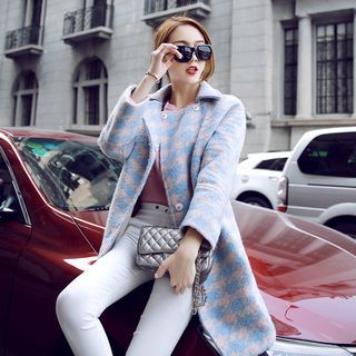 Button Houndstooth Coat 1056033857