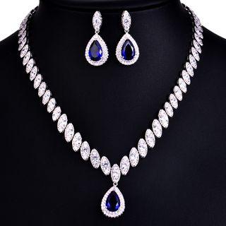 Image of Set: Rhinestone Pendant Necklace + Drop Earring