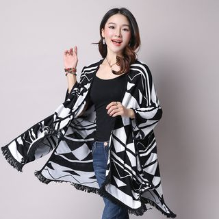 Patterned Knit Poncho 1052789585