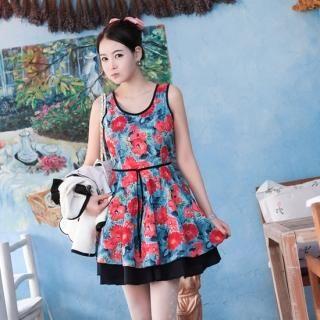 Buy NamuDDalgi Floral Print Layered Hem Dress 1022365904