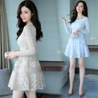 Long-Sleeve Lace-Panel Dress 1596