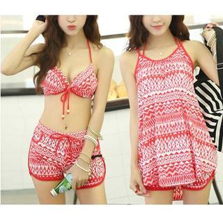 Set: Print Bikini + Swim Shorts + Cover-Up 1044175839