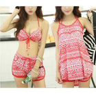 Set: Print Bikini + Swim Shorts + Cover-Up 1596