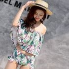 Printed Off-Shoulder 3/4 Sleeve Bikini 1596