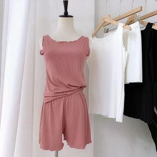 Image of Pajama Set: Plain Tank Top + Shorts