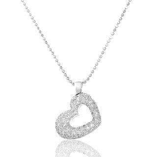 Image For 18K White Gold & Diamonds Heart-Shape Pendant