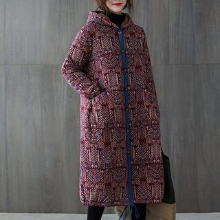 Button   Jacket   Print   Hood