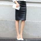 Faux-Leather Pencil Skirt 1596