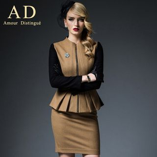 Set: Paneled Peplum Wool Blend Jacket + Pencil Skirt
