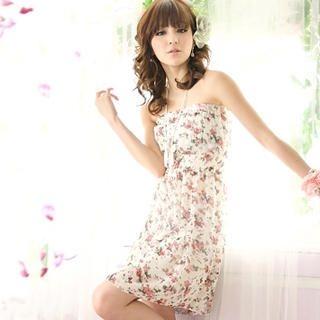 Buy Tokyo Fashion Strapless Floral Chiffon Dress 1022763772