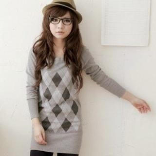Picture of VeJanie Argyle Sweater Dress 1021784167 (VeJanie Dresses, Womens Dresses, Taiwan Dresses, Sweater Dresses)