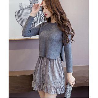 MAVIS Lace V-Neck Long-Sleeve Dress