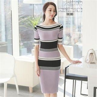 Boat-Neck Color-Block Ribbed Dress 1065595237