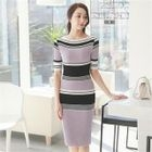 Boat-Neck Color-Block Ribbed Dress 1596