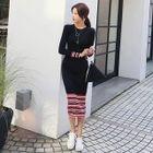 Long-Sleeve Striped Knit Midi Dress 1596