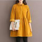 Long-Sleeve Corduroy A-Line Dress 1596