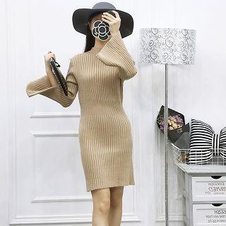 Slit-Sleeve Ribbed Knit Dress 1055215792