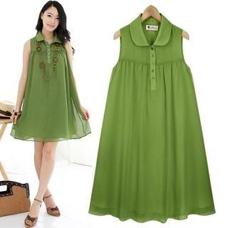 Buy Black Queen Sleeveless Shirtdress 1022913551