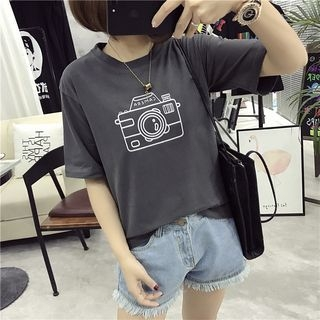 Camera Print Short-Sleeve T-Shirt 1058630605
