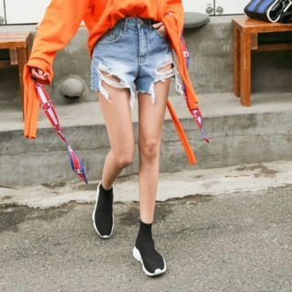 Distressed Washed Denim Shorts 1058301064