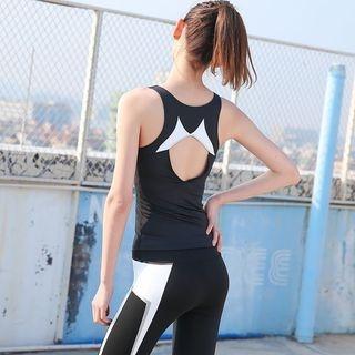 Set: Contrast Trim Tank Top + Zip Jacket + Yoga Pants 1065099672