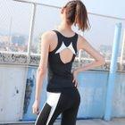 Set: Contrast Trim Tank Top + Zip Jacket + Yoga Pants 1596