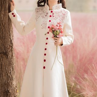 Long-sleeve   Embroider   Floral   Dress