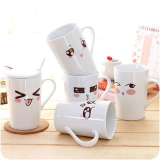 Print Ceramic Cup with Cover 1049531458