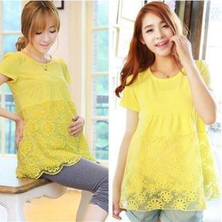 Maternity Short-Sleeve Lace Hem Top 1050910968