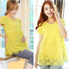 Maternity Short-Sleeve Lace Hem Top 1596
