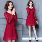 Lace Panel Long-Sleeve A-Line Dress 1596