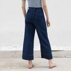 Cuffed Plain Denim Wide-Leg Pants 1596
