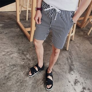 Drawstring Striped Shorts 1050394999