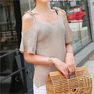 Cutaway-Shoulder Knit Top 1060973551