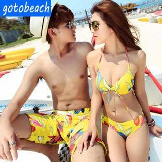 Couple Set: Print Bikini + Cover-Up / Swim Shorts 1044743701