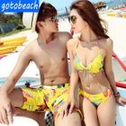 Couple Set: Print Bikini + Cover-Up / Swim Shorts 1596