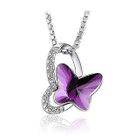 White gold plated .925 sterling silver butterfly necklace with purple cubic zirconia