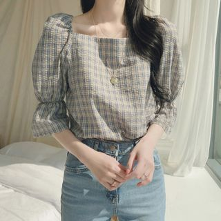 Image of Bell-Sleeve Tie-Back Plaid Blouse