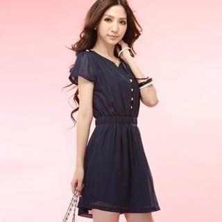 Buy Tokyo Fashion Short-Sleeve Buttoned Chiffon Dress 1022996762