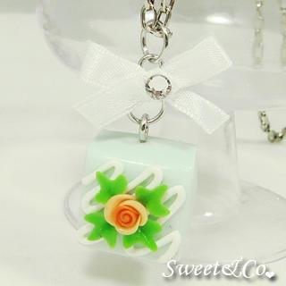 Sweet Blue Rose Chocolate Ribbon Necklace