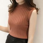 Ribbed Knit Mock Neck Tank Top 1596