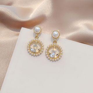 Rhinestone | Earring | Dangle | Silver | Pearl | Hoop | Faux | Size | One