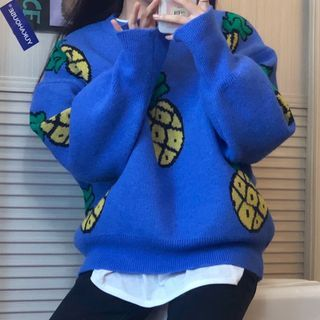 Pineapple Print Sweater Blue - One Size