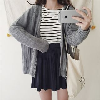 Plain Ribbed Knit Cardigan 1053920333