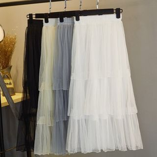 Image of Mesh A-Line Tiered Skirt