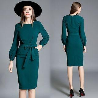 Long-Sleeve Tie-Waist Dress 1064115611