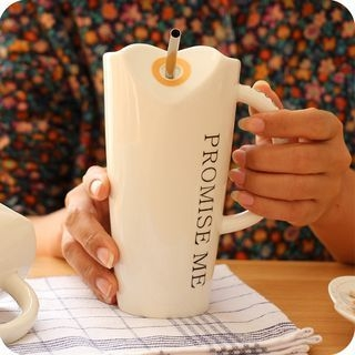 Letter Ceramic Cup with Straw 1060377783