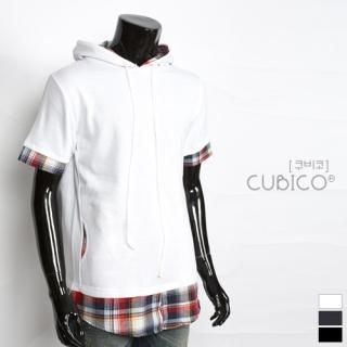Picture of CUBICO Check Shirt Inset Hooded Pullover 1022772733 (CUBICO, Mens Tees, Korea)
